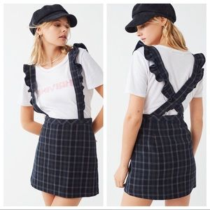 UO time after time plaid suspenders skirt